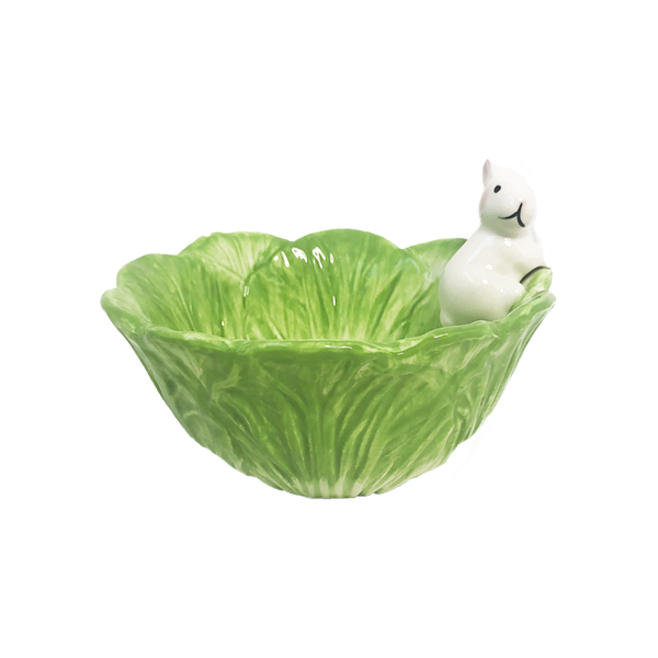 green feed bowl for rabbits with white rabbit