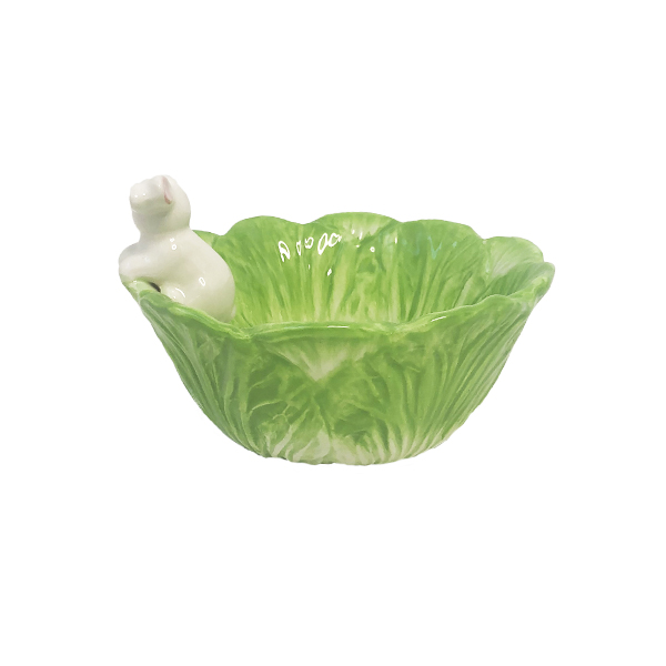 green porcelain rabbit bowl from behind