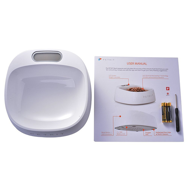 feeding bowl with built-in scale and batteries