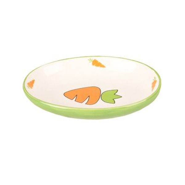 green bowl with carrot for rabbits
