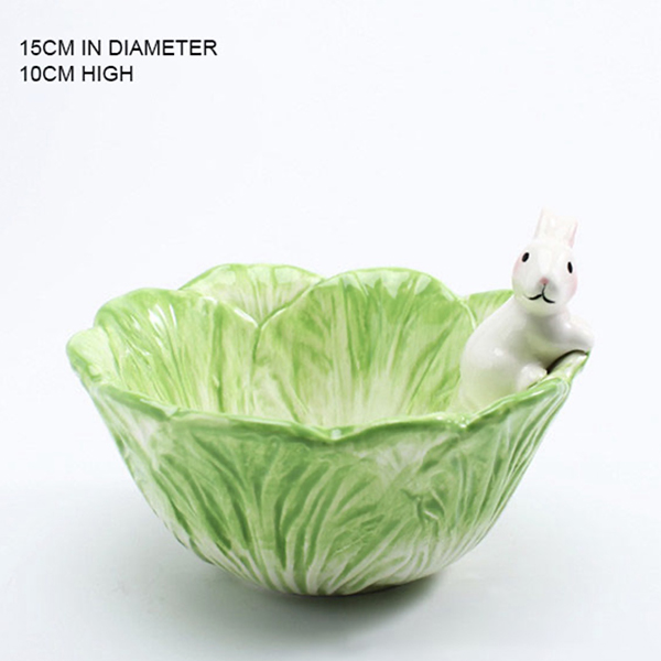 green food cabbage with white rabbit