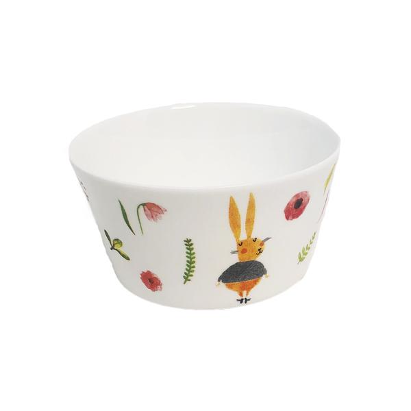 rabbit flowers painted feeding bowl