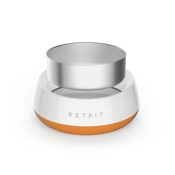 orange feed bowl with digital scale