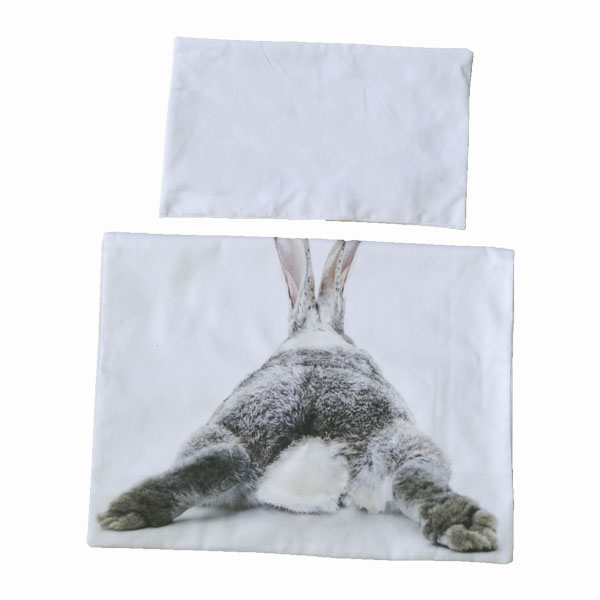 white linen with rabbit bum