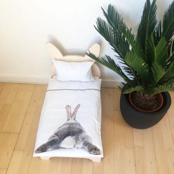 rabbit bed with rabbit butt organic bedding