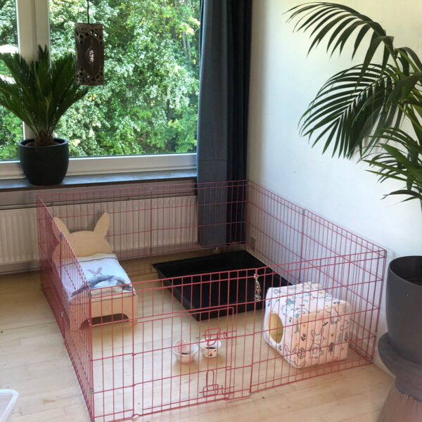 rabbit cage pink with rabbit bed and hideaway