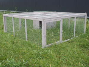 rabbit cage in white of wood