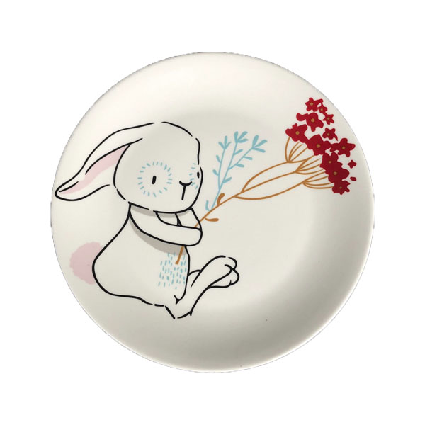 plate for rabbit with flowers for treats
