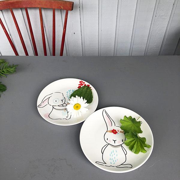 two rabbit plates