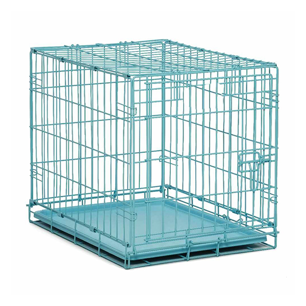 blue cage for transporting small animals, dogs, cat, rabbit