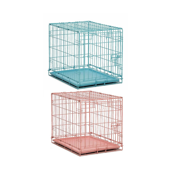 blue and pink cage for small dogs, cats or rabbits for transport