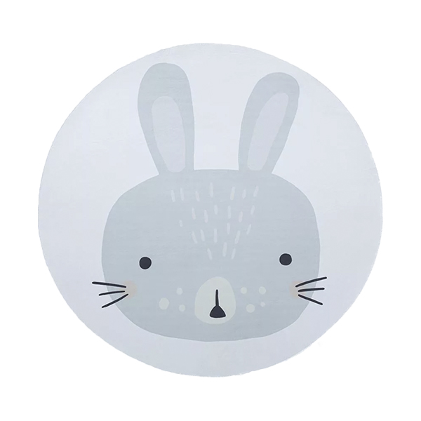 round carpet to the rabbit base with blue rabbit