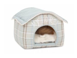 mint green cave for smaller pets in the shape of a house