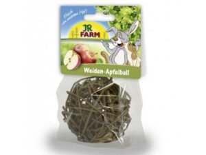 wicker ball with apple pieces for rabbits