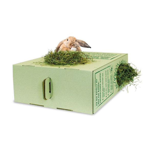 bee friendly hay in cardboard box for rabbits
