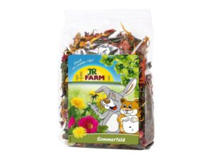 summer field rabbit snack herbal mixing with flowers
