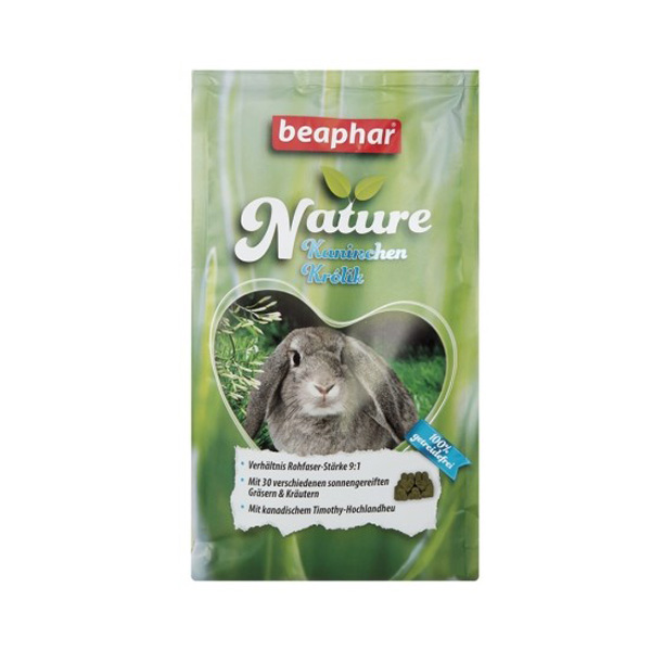 beaphar Nature rabbit feed with high fiber content. This food for bunnies has the highest content of fibers here in the rabbit shop