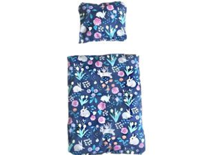 rabbit bed linen blue with flowers and rabbits